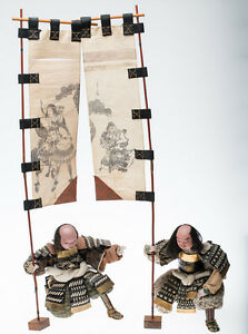 Antique Japanese Edo Musha Dolls Samurai Attendants With Banners Museum Quality