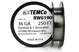 Temco Kanthal A1 Wire 36 Gauge 250 Ft Resistance Awg A 1 Ga