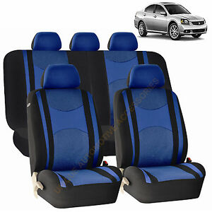 Blue Front Back Split Bench Seat Covers 9pc Set For Mitsubishi Lancer