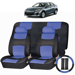 Pu Leather Blue Black Seat Covers 11pc Set For Mazda 3 5 Cx7