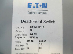 Cutler hammer Panel Board Switch Fdpwt 3611r 30a 600v Twin Switch Used