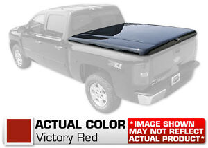 Hard Tonneau Cover Styled Truck Lid Painted Red For Silverado Sierra Short Bed