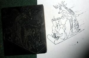 Vintage Printers Block Santa Claus Reindeer Reading The Independent 4 X 4 5