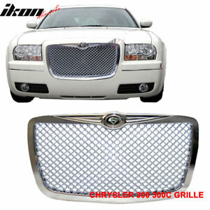 Fits 04 10 Chrysler 300c 300 C Chrome Abs Mesh Grill Grille S Logo