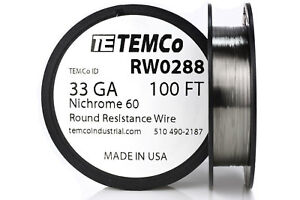 Temco Nichrome 60 Series Wire 33 Gauge 100 Ft Resistance Awg Ga