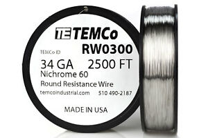 Temco Nichrome 60 Series Wire 34 Gauge 2500 Ft Resistance Awg Ga