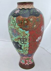 7 4 Antique Japanese Meiji Green Red Goldstone Cloisonne Vase With Flowers