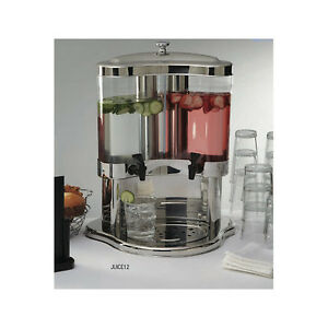 Stainless Steel Dual 5 3 Quart Beverage Dispenser Bar Party Banquet Equipment