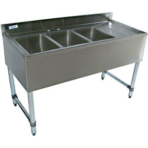 Stainless Steel Bar Sink 48 Three Compartment Right Drain Commercial