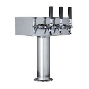 Draft Beer Kegerator T tower Stainless Steel 3 Faucets Home commercial Bar