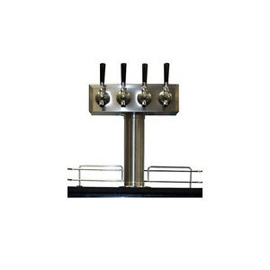 4 Tap Draft Beer T tower Stainless Steel Four Faucet Kegerator Tower