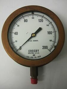 Crosby 0 200 Psi Test Pressure Gage Gauge 2 Lb Subdivision Steampunk Vintage