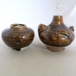 2 Small Antique Song Dynasty Chinese Pottery Brown Glazed Vases 2 25