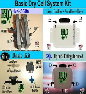 Hho Basic Dry Cell System Kit Bubbler Scrubber Reservoir Electrical Components