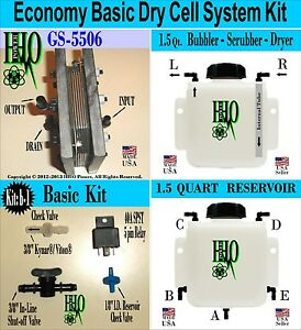 Hho Economy Basic Dry Cell Kit Bubbler Scrubber Reservoir Electrical Components