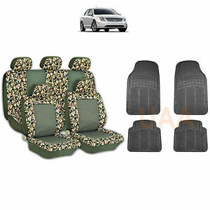 13pc Green Camo 2 Tone Seat Covers Black Rubber Floor Mats Set For Cars 1761