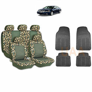 13pc Green Camo 2 Tone Seat Covers Black Rubber Floor Mats Set For Cars 1764