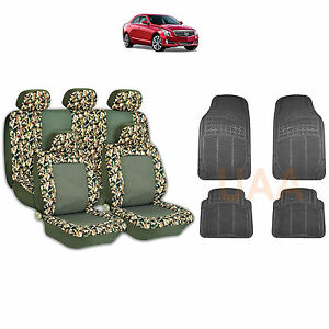 13pc Green Camo 2 Tone Seat Covers Black Rubber Floor Mats Set For Cars 1765