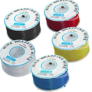 5pcs lot 305m 30awg Plated Copper Wrapping Roll Wire Cord Cable Black Red White