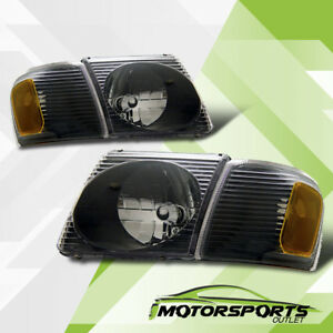 2001 2005 Ford Explorer Sport Trac Black Headlights Corner Lamps Left Right New