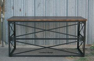Vintage modern Industrial Desk Mid Century Design Table Steel reclaimed Wood