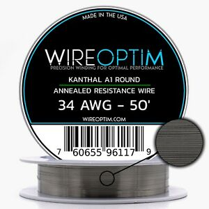 34 Gauge Awg Kanthal A1 Wire 50 Length Ka1 Wire 34g Ga 0 16 Mm 50 Ft
