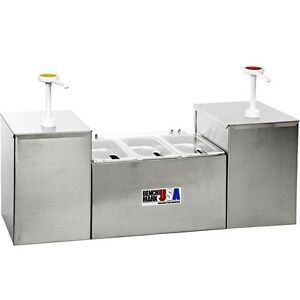 5 section Condiment Holder Dispenser 2 Pump 3 Well Concession Station System