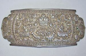9 8 Antique Chinese Silver Belt Buckle W Qilin Dragons Sterling 161g