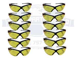 12 Pair Jackson 3000359 Nemesis Safety Glasses Black Amber Lens