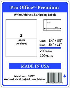Po07 2000 Premium Half Sheet Shipping Labels Self adhesive 8 5 X 5 5 Pro Office