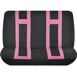 Pink Black Double Stitched Polyester Bench Seat Cover 2pc Set For Cars 9022