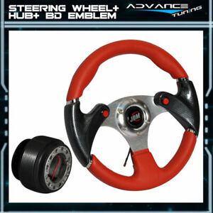 Fits 320mm Red Pvc 6 Hole Racing Steering Wheel Cf Look Hub Adapter Jdm Horn