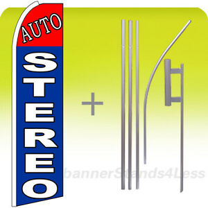 Auto Stereo Swooper Flag Kit Feather Flutter Banner Sign 15 Bq