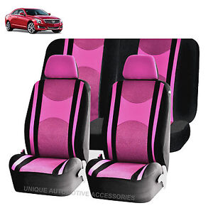 Pink Bk Honeycomb Airbag Ready Split Bench Seat Covers 6pc Set For Cars 1145