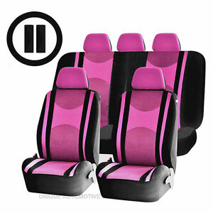 Pink Black Poly Mesh Airbag Ready Split Bench Seat Covers Combo For Vans 1340
