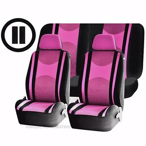 Pink Black Mesh Net Seat Covers Airbag Ready Split Bench 9pc Set For Cars 1444