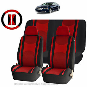 Red Black Mesh Net Seat Covers Split Bench 9pc Set For Cars 1444