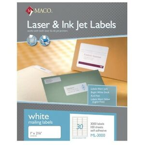 Maco Ml 3000 Address Labels 1 X 2 5 8 30 To The Page 90 000 Labels