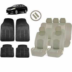 All Beige Honeycomb Seat Covers Split Bench Mats For Cars 1542