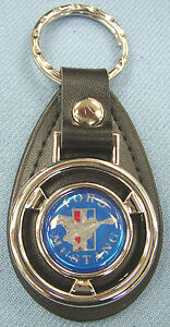 Blue Ford Mustang Mini Steering Wheel Black Leather Keyring 1968 1969 1970 1971