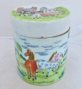 7 Chinese Famille Rose Tea Caddy Round Box Or Ginger Jar W Tang Style Horses