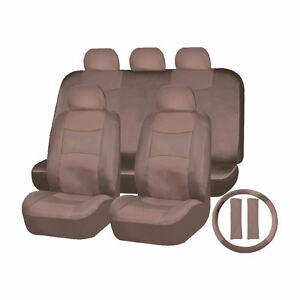Solid Beige Pu Synthetic Leather Head Seat Bench Steering Wheel Cover Set 1653