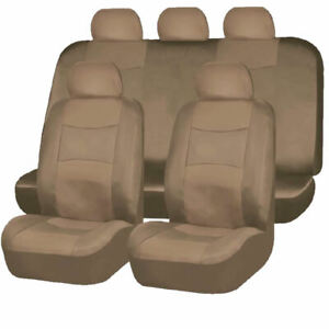 9pc Solid Dark Beige Tan Pu Synthetic Leather Seat Covers Set For Suvs 1658