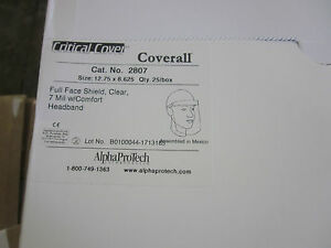 Face Shield Critical Cover Coverall 2807 Full Face Shield Clr cs Of 100 new