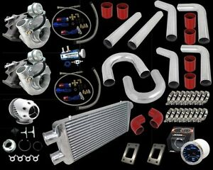 Chevy Camaro Ss Z28 Ls1 Lt1 305 350 400 T3 T4 Twin Turbo Charger Kit Red 800hp