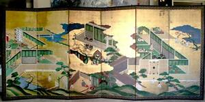 Japanese Byobu Screen Late Edo Period 1603 1868