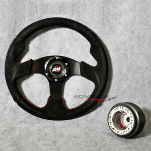 Fits Steering Wheel Race Sport Black Suede Red Stitch 320mm Hub Adapter Jdm Horn