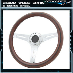 Classic Wood Grain Sport 350mm Steering Wheel Black Trim Chrome Polish Spokes
