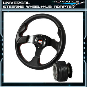 320mm Black Pvc Leather Red Stitch Sports Steering Wheel Jdm Horn Hub Adapter