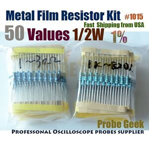 50 Values Total 500pcs 10pcs Each 1 1 2w Metal Film Resistor Assorted Kits